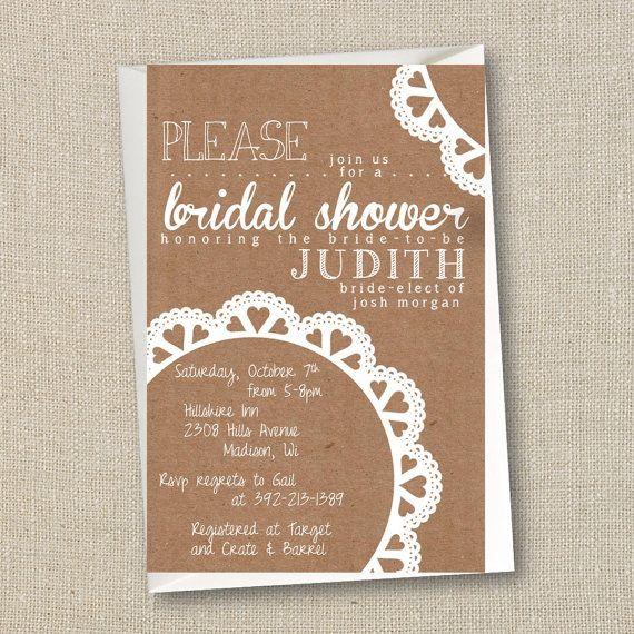 Bridal Shower Invitation - Doily Rustic Burlap Digital Printable File