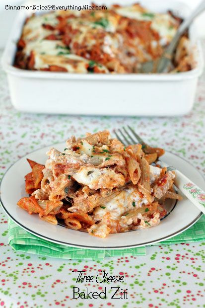Three Cheese Baked Ziti with Eggplant | Cinnamon Spice & Everything ...