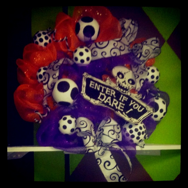 Halloween mesh wreath with two colors and multi patterns