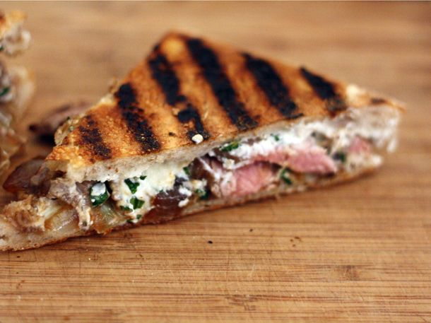 Flank Steak Panini with Goat Cheese and Caramelized Onions (I'll use ...
