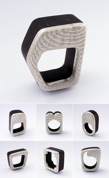 Gustavo Paradiso - Colección 2012 - chiaroscuro XII ring - wood & silver