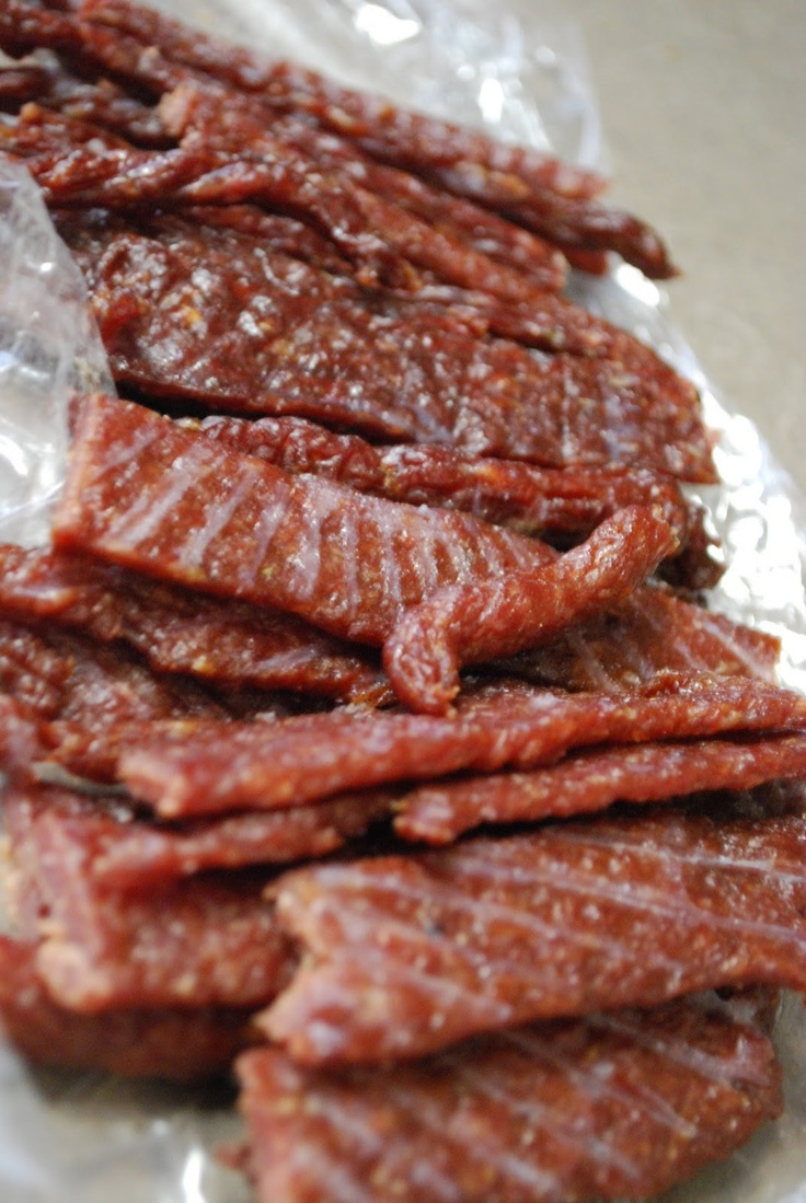 Oven dried beef jerky. I MUST make my own; this looks delicious!