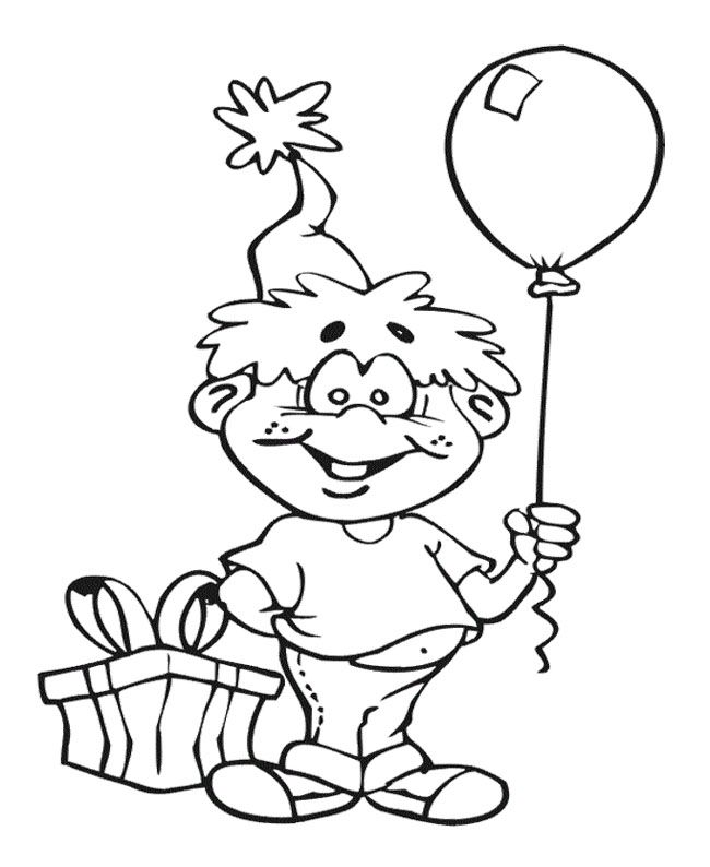 The Boy With Balloon Coloring Page New Year Pintere