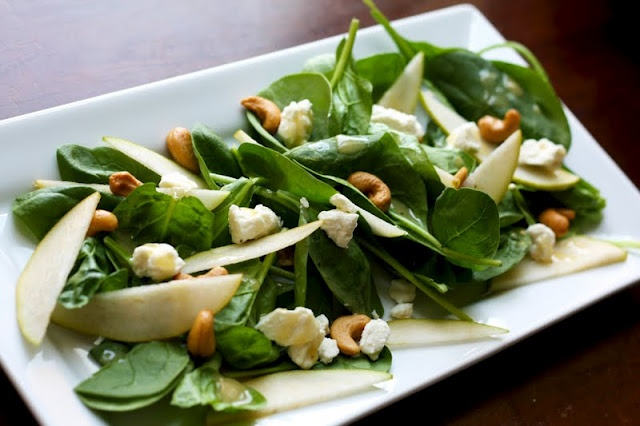 pear and feta spinach salad | via dietitian Heather Hands, @ the ...