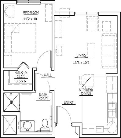 550 Square Feet Brilliant Of 450 Sq FT One Bedroom Apartment Floor Plans Photo