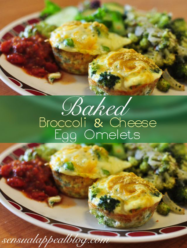 Broccoli and Cheese Baked Egg Omelets | Recipe