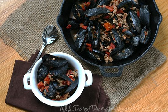 Spicy Mussels in Chorizo Tomato Sauce | All Day I Dream About Food