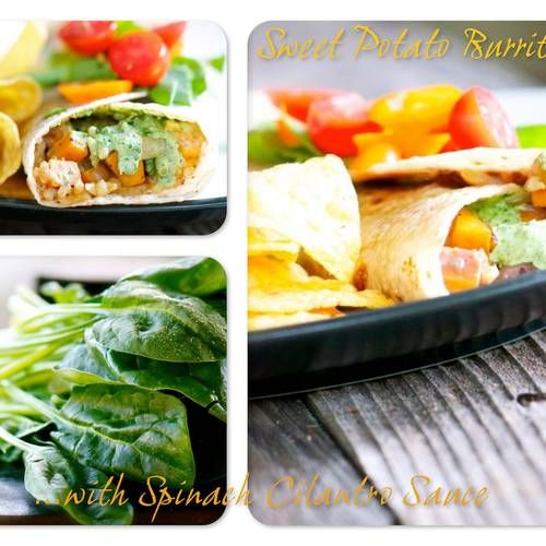 Sweet Potato Burritos with Spinach Cilantro Sauce | Made Just Right by ...