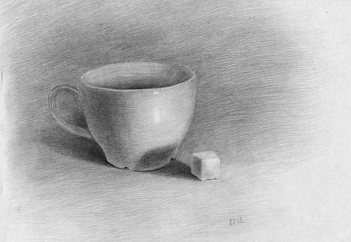 Simple still life black and white drawing
