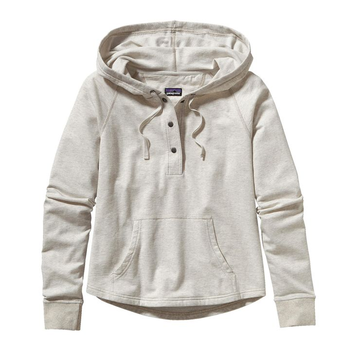 Patagonia Women's Ahnya Pullover: this #FairTrade Certified™ pullover is made of soft organic cotton/polyester heather fleece and has a cozy hood, 3-button placket and marsupial-style pouch pockets.