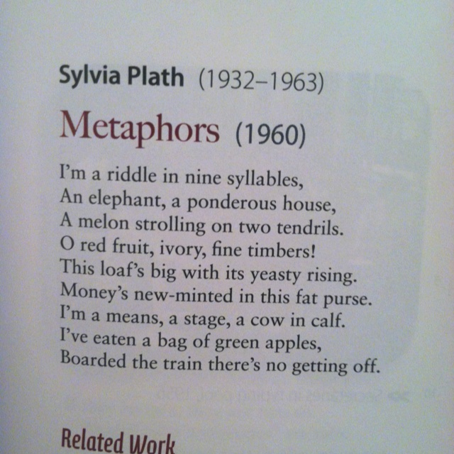 metaphors in a poem daddy by sylvia plath Rather than to the events the poem uses as metaphors for its subject  images of victimization in sylvia plath's poem daddy  sylvia plath, daddy, the .