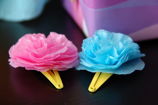 Rose hair clip made out of tissue paper crafts pinterest