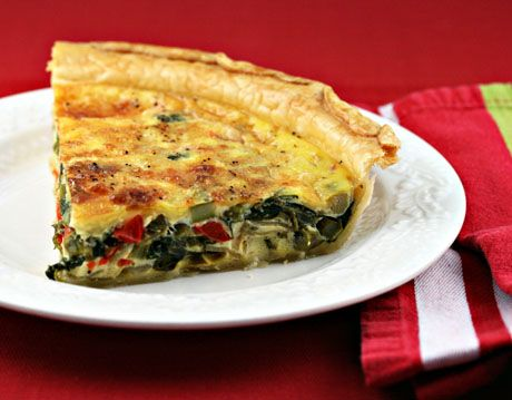 Red pepper, asparagus and spinach quiche | Quiche | Pinterest