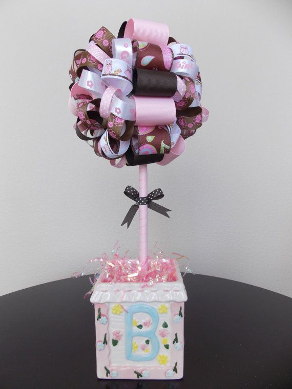 baby shower girl owl centerpiece decoration by boutiquechicgallery