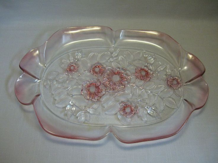 Mikasa crystal canape serving tray rosella frosted pink for Canape serving platters