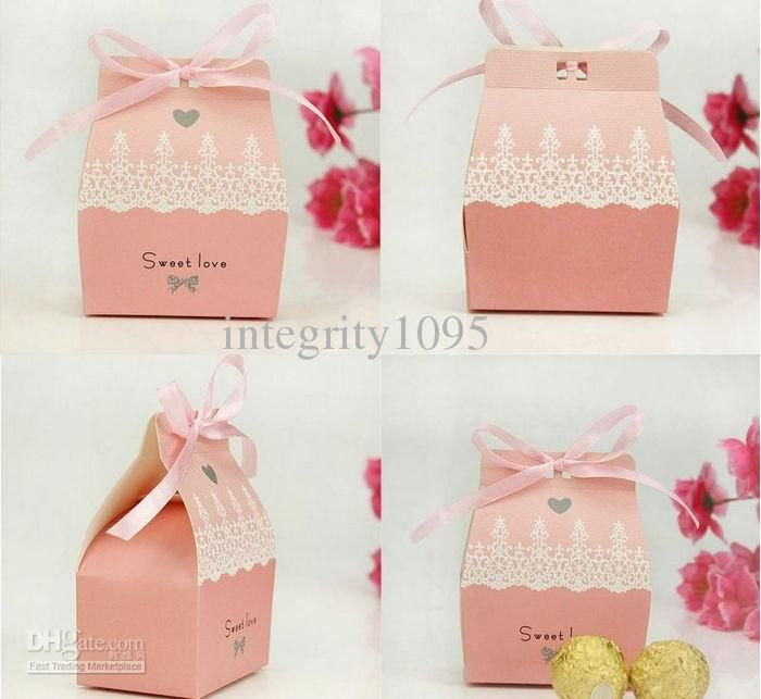 Wedding Gift Box Pattern : pink house candy favor boxes paper craft Pinterest