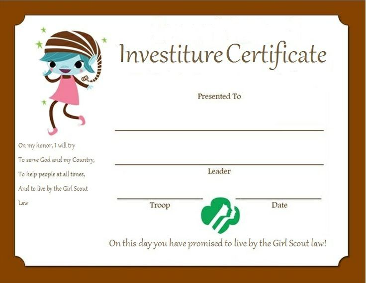 Investiture Certificate for Brownies | Girl Scouts | Pinterest