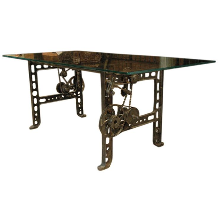 Pin by massalina drive on tables to build pinterest for Cast iron and glass dining table