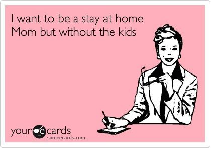 I want to be a stay at home mom, but without the kids.
