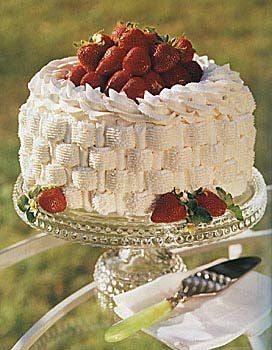 Strawberry basket cake. A day late but this is a spectacular dessert ...