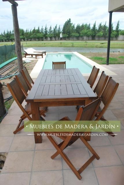 Mesa de madera para patio exterior mesas pinterest - Mesas de exterior de madera ...