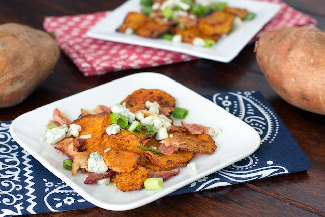 BBQ Sweet Potato Chips with Gorgonzola and Bacon, they are smokey, yet ...