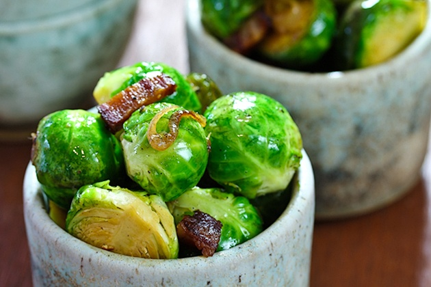 Braised Brussel Sprouts with bacon and beer.