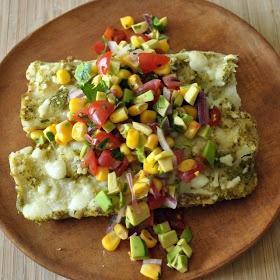 Black Bean Enchiladas with Salsa Verde and Sweet Corn Salsa