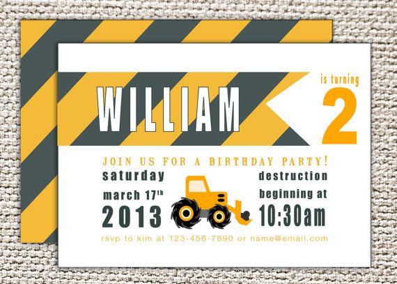 digger invitations 28 images backhoe digger construction – Digger Party Invitations