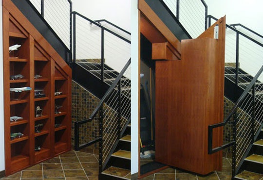 Secret passage under a staircase.