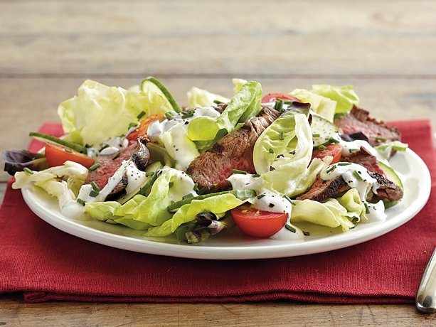 Steak Salad with Creamy Dressing - Lettuce layered with grilled beef ...