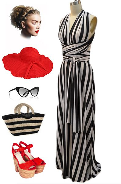 Black and White Stripe Multi way wear infinity halter dress