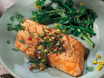Grilled salmon with ginger and green onion relish. Yet another salmon ...