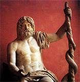 32 - ASCLEPIOS. El dios griego de la medicina, de acuerdo a la leyenda común. Fue hijo del dios de la salud, Apolo y de Coronis, hija del rey de Tesalia Flegias.