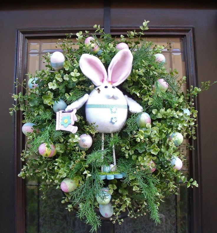Easter Wreath Spring Wreath Front Door Wreath Pastel Bunny