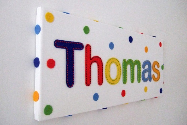 Childs Mixed Colour Personalised Handstitched Felt Name Canvas