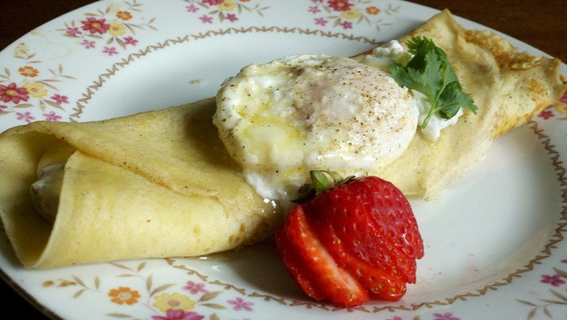 Gluten free crepes stuffed with chive, bacon, onion custard & poached ...