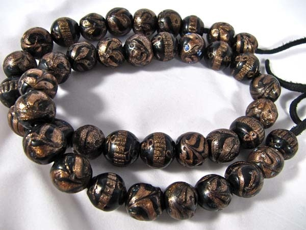 Antique African Trade Beads RARE Black Venetian strand