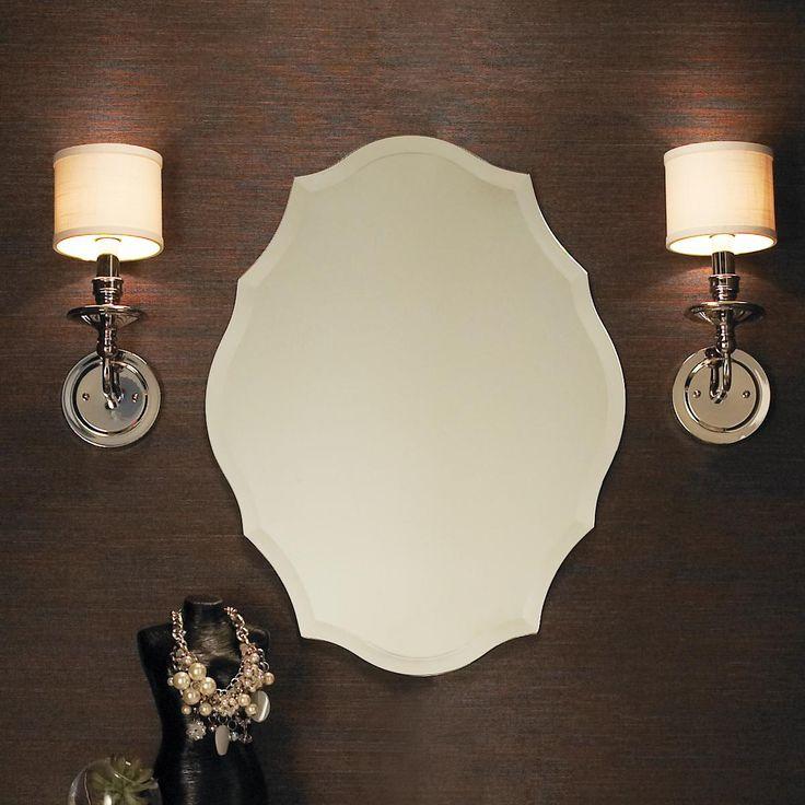 Beveled Shield Shaped Frameless Mirror