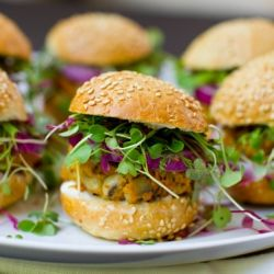 Black Eyed Pea Sweet Potato Veggie Burgers. #foodgawker
