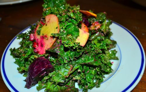 Beet , Apple and Kale Salad with Creamy Green Goddess Dressing