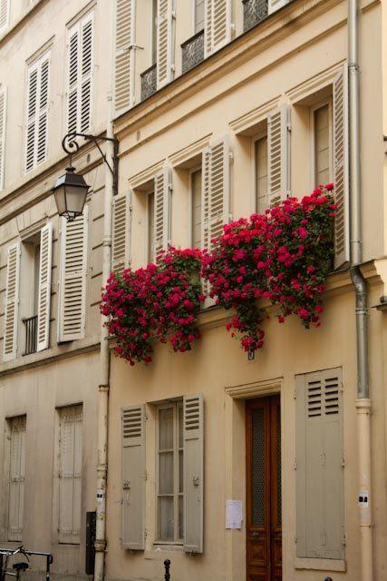 pasztell színű épület élénk virágokkal