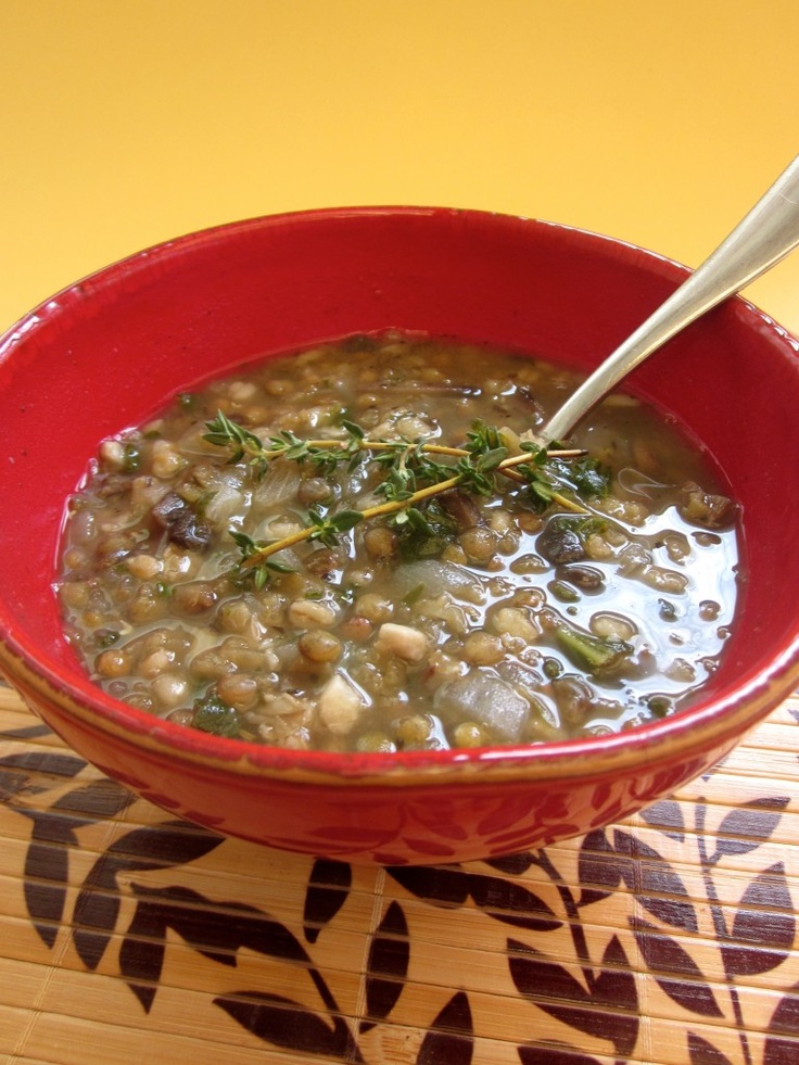 Double Lentil and Mushroom Barley Soup- from Cadry's Kitchen #vegan