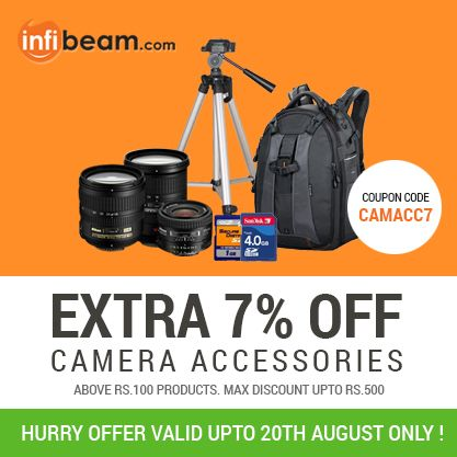 Get Additional 7% off on All Camera Accessories Products at infibeam 60d891d23c9b8b08ad0cf6d75ef48e69