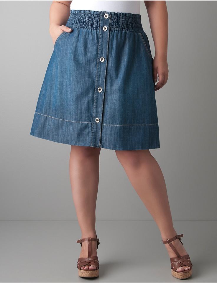 button front denim skirt bryant plus size style