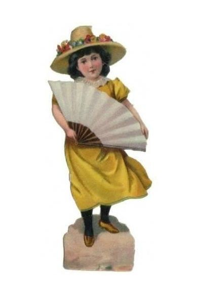 old victorian scrap, girl with fan