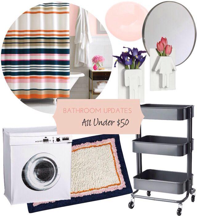 Bathroom mood board featuring Kate Spade candy shower curtain