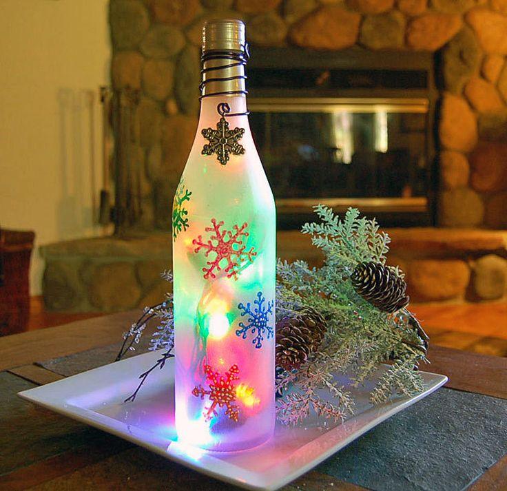 Wine bottle light snowflakes christmas decoration for Christmas bottle decoration ideas