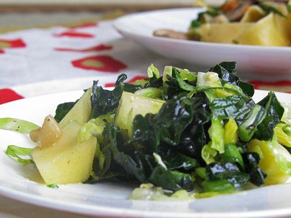 ... & Brussels Sprouts Salad with Crisp Apples & Meyer Lemon Vinaigrette