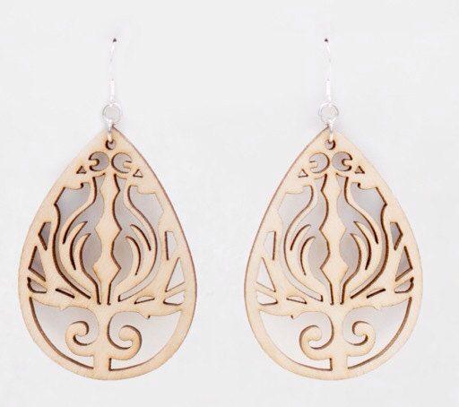 Wooden teardrop earrings etsy pinterest